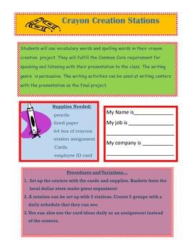 Crayon Company Persuasive Writing Centers