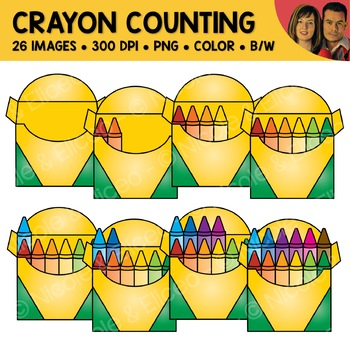 Crayon Counting Scene Clipart