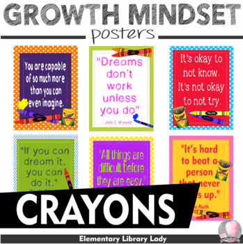 """Crayons Crayola Growth Mindset Posters - 8.5""""x11"""", 18""""x24"""" - Ready for Printing"""