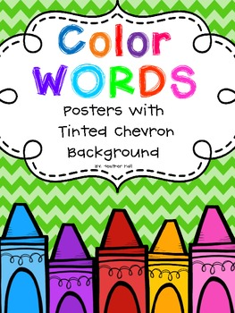 Crayon Doodle Color Word Posters With Tinted Chevron Background