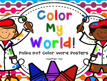 Color Word Posters With Polka Dot Background