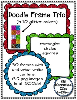 Glitter Doodle Frame Trio - Squares, Circles, and Rectangles