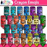 Crayon Emoji Clip Art   Back to School Emoticons and Smiley Faces for Brag Tags
