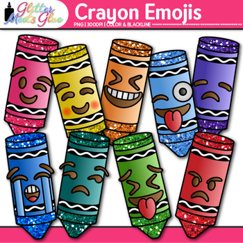 Crayon Emoji Clip Art | Back to School Emoticons and Smiley Faces for Brag Tags