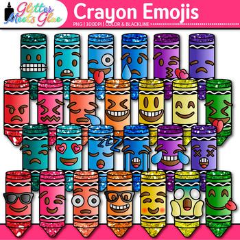 Crayon Emoji Clip Art | Back to School Emoticon and Smiley Faces for Class Deco