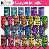Crayon Emoji Clip Art {Back to School Emoticons and Smiley