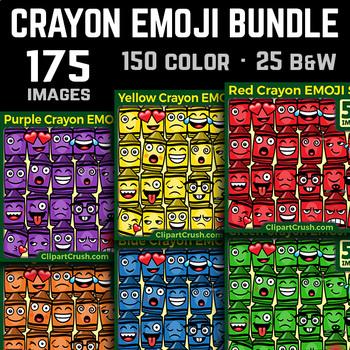 Crayon Emoji Clipart Bundle Crayon Emojis Emotions Expressions