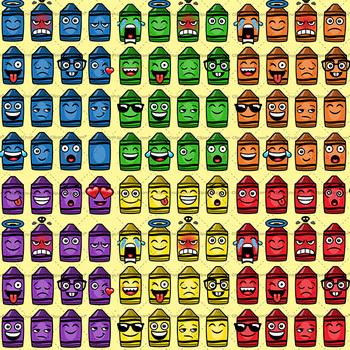 Crayon Emoji Clipart Bundle / Crayon Emojis Emotions Expressions
