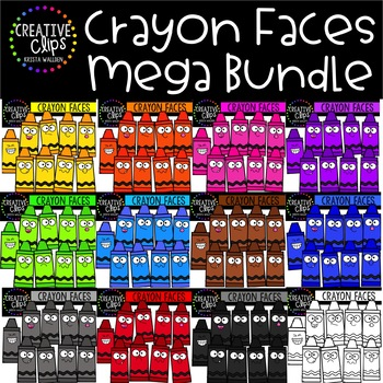 Crayon Faces Mega Bundle: School Clipart {Creative Clips Clipart}