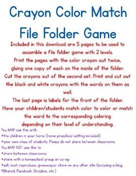 Crayon File Folder Game