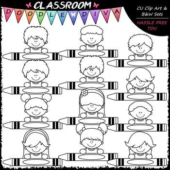 Crayon Kid Toppers - Clip Art & B&W Set