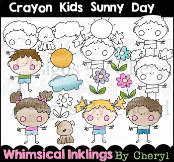 Crayon Kids Sunny Day Clipart Collection