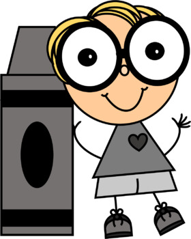 Crayon Kids with Big Glasses Clip Art