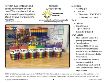 Crayon Labeling Cards for Bins or Labels & Classroom Organization