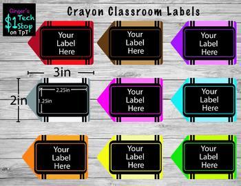 Crayon Classroom Labels * Black