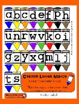 Crayon Letter Match - Lowercase Alphabet Matching - Cute File Folder Game