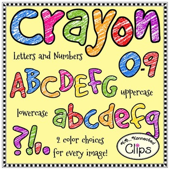 Crayon Letters and Numbers - Clip Art