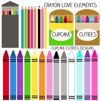 Crayon Love Art Artist Digital Clip Art Elements