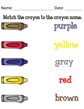 Crayon Matching FREEBIE