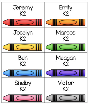 Crayon Name Tags Editable Free