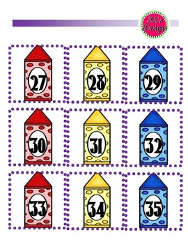 Crayon Number Cards 0-35 for cubbies, calendar, or graphing