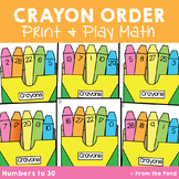 Fun Activity for Ordering Numbers to 1-30 Crayon Order