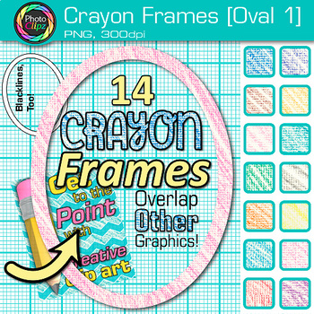 Crayon Oval Frames Clip Art {Page Borders & Frames for Worksheets & Resources} 1