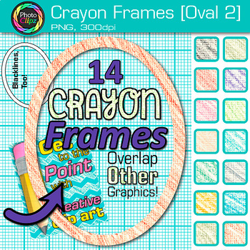 Crayon Oval Frames Clip Art {Page Borders & Frames for Worksheets & Resources} 2