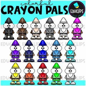 Crayon Pals Clip Art Bundle {Educlips Clipart}