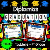 Diplomas for Preschool, Kindergarten & First Grade  - Freebie