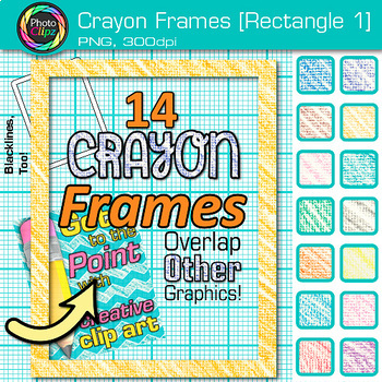 Crayon Rectangle Frames Clip Art {Page Borders & Frames for Worksheets} 1
