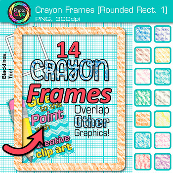 Crayon Round Rectangle Frames Clip Art {Page Borders & Frames for Worksheets} 1