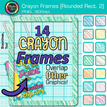 Crayon Round Rectangle Frames Clip Art {Page Borders & Frames for Worksheets} 2