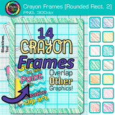 Crayon Round Rectangle Frames Clip Art: Page Border Graphics 2 {Photo Clipz}