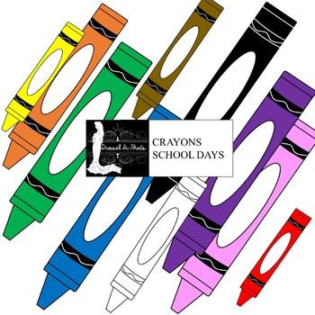 Crayons School Days Clip Art Set