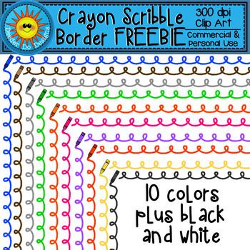 Crayon Scribble Border Clip Art FREEBIE