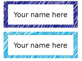 Crayon Scribble Name Tags [editable]