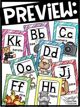 Crayon Scribbles Alphabet Posters - Crayon Scribbles Decor