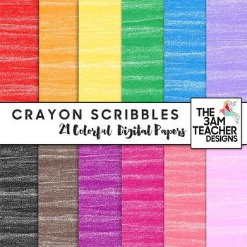 Crayon Scribbles Digital Papers Set
