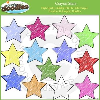 Crayon Stars Clip Art