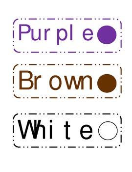 Crayon Storage Labels/Color Signs