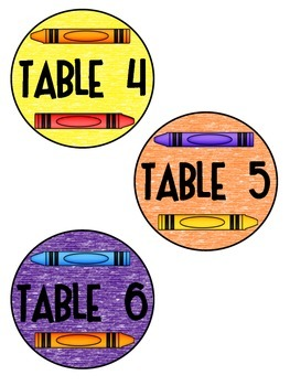 Crayon Table & Group Signs & Labels