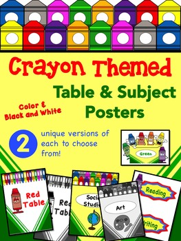 Crayon Table and Subject Posters