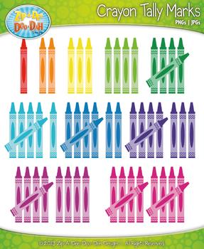 Crayon Tally Marks Clipart — Fun & Bright Rainbow Colors!