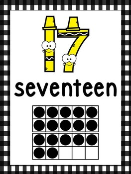 Crayon Ten Frame Number Posters 0-20