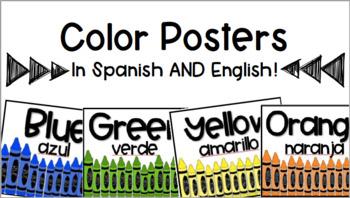 Crayon Theme Color Posters English and Spanish