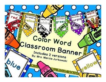 Crayon Theme Color Word Printable Pennant Banner Classroom Decor