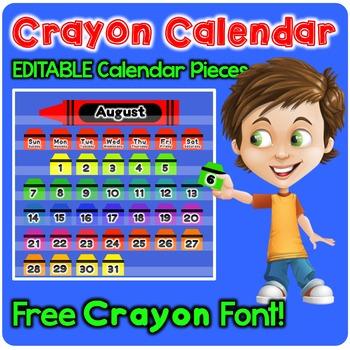 Crayon Theme - EDITABLE Calendar Pieces