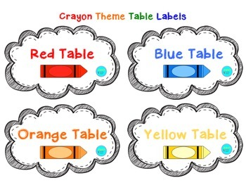 Crayon Theme Table Labels and Name Plates
