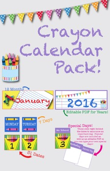 Crayon Themed Calendar Pack!
